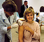 woman being given a flu shot